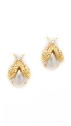 Kenneth Jay Lane Pearl Bee Earrings