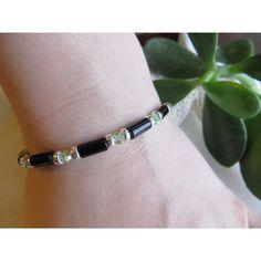 Black Onyx Bracelet, Stretch Bracelet, Swarovski Crystal Bracelet,... (1 040 UAH) ❤ liked on Polyvore featuring jewelry, bracelets, sterling silver bangles, beaded bangles, swarovski crystal jewelry, stacked bangles and black onyx jewelry