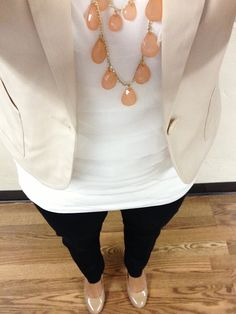 Work outfit-  jacket, express white drape top, slacks, color splash with necklace
