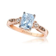Le Vian 14k White Gold Ring Aquamarine and White and Chocolate