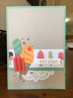 Birthday Card copied. Link in comments.  • Mint Macaron base 8 1/4 x 5 3/4 • Tasty Treats DSP 5 1/2 x 3 7/8 • Tasty Treats DSP 3 7/8 x 1 5/16 • Whisper White 2 3/4 x 3/8 • Mint Macaron 3 7/8 x 1/2 stamped with Delicate Details in Mint Macaron • Sentiment from Tasty Trucks stamped in Crumb Cake • Doily • Sprinkles Embellishments • Frozen Treats Dies cut from Mint Macaron, Watermelon Wonder, Peekaboo Peach, Crumb Cake and stamped with same colours • Stampin' Up!