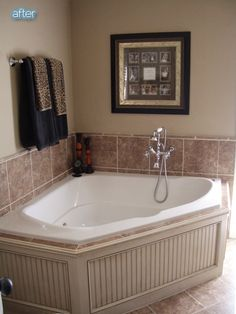 color of the wainscotting and the idea to use it around the tub.