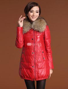 Gorgeous Red Sheepskin Duck Down Raccoon Collar Womens Fur Coat. See More Fur Coats at http://www.ourgreatshop.com/Fur-Coats-C798.aspx