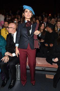 See who's sitting front row at Milan Fashion Week: Salma Hayek at Gucci