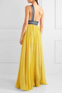 Elie Saab - One-shoulder Grosgrain-trimmed Silk-georgette Gown - Yellow - FR46