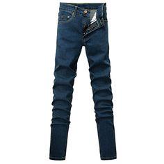 b4e8b211b051 MEN S BLUE SKINNY JEANS STRETCH DENIM JEANS PENCIL PANTS