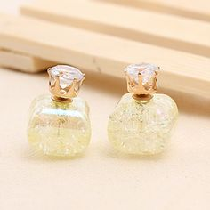 Lovely #Crystal Double Faced #Stud #Earring, with #CZ& Crackle, More Other Colors Please Click It.