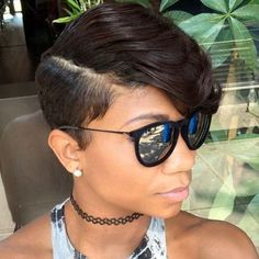Women's Short Side Part Hairstyle