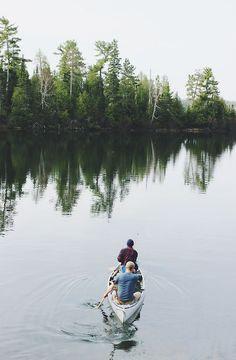 lake, canoe + trees