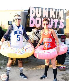 Dunkin Donuts Basketball Theme - Best Halloween Trunk or Treat Ideas Theme trucks cars suvs and vans. Easy church Halloween ideas including games and popular Halloween themes Dunkin Donuts Basketball Theme - Best Halloween Trunk or Treat Ideas Theme tru Halloween Car Decorations, Theme Halloween, Family Halloween, Couple Halloween Costumes, Woman Costumes, Halloween Outfits, Purim Costumes, Clever Costumes, Teen Costumes