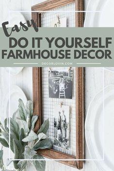Cheap and easy DIY farmhouse decor to spruce up your home! # easy Home Decor DIY Farmhouse Decor Diy Rustic Decor, Farmhouse Decor, Farmhouse Diy, Country Decor, Home Decor, Farmhouse Style Kitchen, Diy Decor Projects, Diy Farmhouse Decor, Rustic House