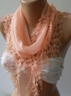 Salmon Pink  Elegance Shawl / Scarf with Lace Edge by womann,