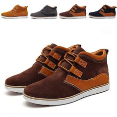 b17579c46384c7 Top New Autumn Winter Fashion Casual Shoes High Top Men Shoes Genuine  Leather Suede Lace Up