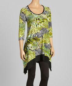 Look at this #zulilyfind! Lime & Purple Zebra Sidetail Tunic - Women & Plus by Sole Dione #zulilyfinds