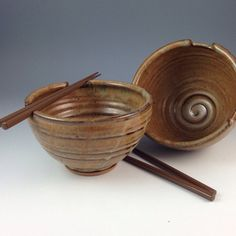 Rice Bowl Set - Pair of 2 Handmade Bowls - Chopstick, Noodle Bowls - Pottery Bowls in our Earthy Brown Glaze