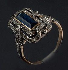 Edwardian lozenge natural unheated sapphire and diamond quality ring 1910c