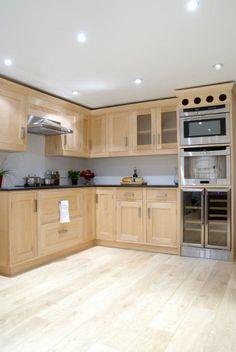 Maple kitchen units See more of this kitchen at w Beech Kitchen Cabinets, Simple Kitchen Cabinets, Kitchen Redo, Home Decor Kitchen, Kitchen Furniture, Kitchen Remodel, Kitchen Design, Kitchen Units, Kitchen Backsplash