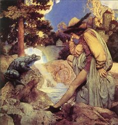 Maxfield Parrish, illustration for The Frog Prince by Brothers Grimm. Maxfield Parrish, Edmund Dulac, Brothers Grimm, Art Et Illustration, Vintage Illustrations, Fairytale Art, New Hampshire, American Artists, Les Oeuvres