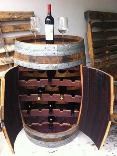 Old Wine Barrel Becomes DIY Wine Cupboard.