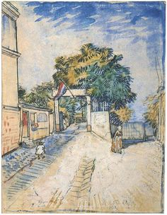 Entrance to the Moulin de la Galette  Vincent van Gogh Watercolor, Watercolour Paris: June - September, 1887 #vangogh #watercolor