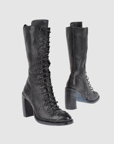 Ann Demeulemeester boots. Gorgeous! Flat Boots, Shoe Boots, Shoes Heels, Gothic Clothing, Shoe Art, Gothic Outfits, Ann Demeulemeester, Couture, Dark Fashion