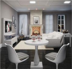 Conjunto para sala de estar / Linha Daisy - Branco/neve escovado