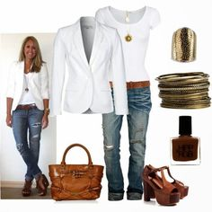 Casual Outfit- Love the white blazer/shirt with jeans! Casual Outfit- Love the white blazer/shirt with jeans! Mode Outfits, Fall Outfits, Casual Outfits, Fashion Outfits, Womens Fashion, Jeans Fashion, Outfits 2016, Fashion Clothes, Classy Outfits