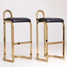 Pierre Cardin brass and leather bar stools
