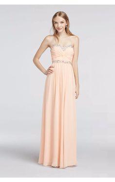 Shinning Beaded Sweetheart Neckline Strapless Long Chiffon Prom Dress Style 1110003 David's Bridal
