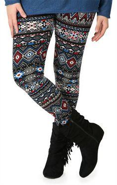 Plus Size Multicolor Tribal Print Legging (11.2013 Deb Shops Plus)