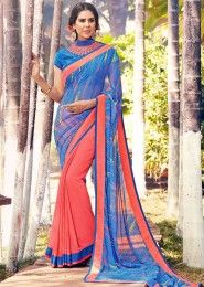 Party Wear Blue Georgette Embroidered Work Saree