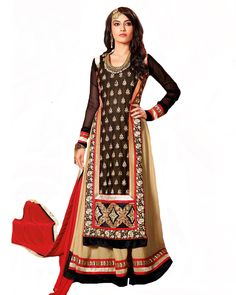 Designer Black/Beige Color Pakistani Suit http://www.sulbha.com/designer-blackbeige-color-pakistani-suit-p-9380.html
