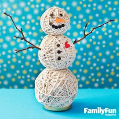 Fuzzy the Stringman: Our twine snowman will keep smiling long after the snow melts.