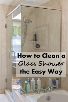 Aug 2016 - How to clean a glass shower the easy way. Quick steps for sparkling glass shower doors! Deep Cleaning Tips, House Cleaning Tips, Cleaning Solutions, Spring Cleaning, Cleaning Products, Weekly Cleaning, Cleaning Routines, Homemade Toilet Cleaner, Cleaners Homemade