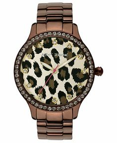 Betsey Johnson Watch, Women's Brown Tone Stainless Steel Bracelet 40mm BJ00157-09 - Betsey Johnson - Jewelry & Watches - Macy's