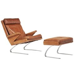 1stdibs.com | German Lounge Chair with Stool in Congac Leather and Chrome Iron Base ca1970's