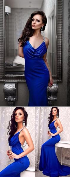 This dress could be custom made, there are no extra cost to do custom size and color, Blue Deep V-Neck Ruffles Open Back Mermaid Silvery Sequins Beaded Backless Prom Long Prom Dresses Uk, Evening Dresses Uk, Backless Prom Dresses, Blue Dresses, Semi Dresses, Prom Gowns, Homecoming Dresses, Ball Gowns, Wedding Dresses