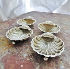 Victorian Sterling Silver Salt Dish Set Shell by SilverFoxAntiques