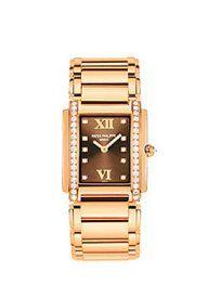 Twenty-4 Womens 18K Rose Gold Brown Dial Diamond Bezel ; Patek Philippe Watch