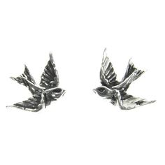 Swallows Pewter Stud Earrings -by Alchemy England 1977