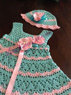 Bebé vestido de ganchillo sombrero de w w/sombrero por alphajeanne