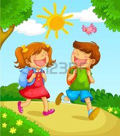 Urdu Stories For Kids, Moral Stories For Kids, School Cartoon, Cartoon Kids, Kids Going To School, School Kids, Kids Vector, Vector Art, School Photography