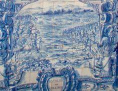 BATALHA DOA ATOLEIROS - Painel de azulejos do séc. XVIII do Museu Militar de Lisboa.