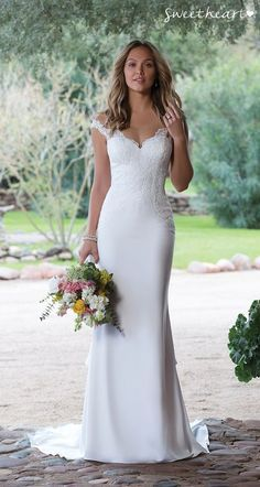 Sweetheart wedding dress - Style 1132 You're not just the girl next door in this crepe fit and flare wedding dress Hand placed embroidered lace creates a figure flattering motif The illusion Sabrina neckline offers a floatin Straight Wedding Dresses, Italian Wedding Dresses, Sweet Wedding Dresses, Fit And Flare Wedding Dress, Sweetheart Wedding Dress, Country Wedding Dresses, Boho Wedding Dress, Bridal Dresses, Dresses Dresses