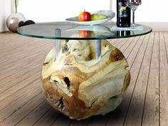 Tables basses, Teak Design Coffee Table Root Ball Glas 70 est une création orginale de Picassi_de sur DaWanda