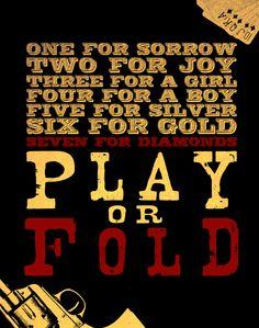 Play or Fold One For Sorrow, Diamonds, Joy, Silver, Glee, Being Happy, Diamond, Happiness, Money