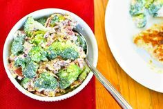 21 Day Fix Broccoli Salad - Perfect for Memorial Day! 1 GREEN, 1/2 RED, 1/2 BLUE, 1/2 TSP SUGAR per serving! Gluten Free