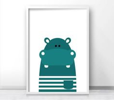 Printable Kids Wall Art Modern Kids Art Hippo par LimitationFree