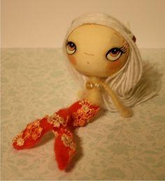 Coral Mermaid OOAK Paper Mache Felted Art Doll. $44.00, via Etsy.