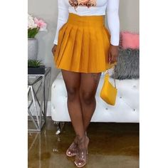 Lovely Casual Ruffle Design Yellow Mini Skirt Women's Best Online Shopping - Offering Huge Discounts on Dresses, Lingerie , Jumpsuits , Swimwear, Tops and More. Yellow Mini Skirt, Mini Skirt Style, Mini Skirt Dress, Mini Skirts, Pleated Skirt, Trendy Outfits, Cool Outfits, Tutu Skirt Women, Ankle Length Skirt